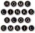 Vintage Blog, Home, Links and Email Keys Stock Images