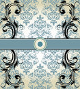 Vintage blue damask invitation card with floral elements Royalty Free Stock Images