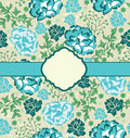 Vintage blue floral invitation card Stock Images