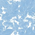 Vintage blue floral seamless pattern doodle floral ornament Stock Photo