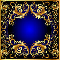Vintage blue frame with vegetable gold(en) pattern Royalty Free Stock Image