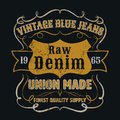 Vintage blue jeans graphic for apparel tee design vector Stock Images