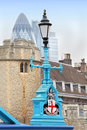Vintage blue lamp post tower bridge london Royalty Free Stock Photos