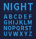 Vintage blue light bulb lamp font or alphabet Royalty Free Stock Photo
