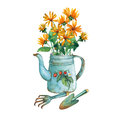 Vintage blue metal teapot with strawberries pattern and bouquet of yellow flowers. Royalty Free Stock Photo