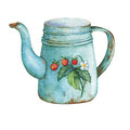 Vintage blue metal teapot with strawberries pattern. Royalty Free Stock Photo