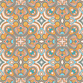 Vintage blue and orange flowers beautiful natural abstract pattern with Royalty Free Stock Image