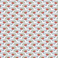 Vintage Blue and Red Fan Background repeat wallpaper