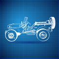 Vintage Blueprint of American Jeep Stock Images