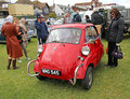 Vintage bmw isetta car photo of a red three wheeled showing at the whitstable show on th june photo useful for highlighting Royalty Free Stock Photos