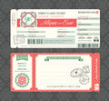 Vintage Boarding Pass Wedding Invitation Template Royalty Free Stock Photo