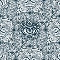 Vintage bohemian floral background ornament with sacred eye. Decorative style retro seamless pattern