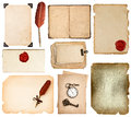 Vintage book pages, cards, photos, pieces isolated on white Royalty Free Stock Photo