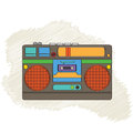 Vintage boom box isolated on white background vector illustration Royalty Free Stock Photography