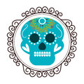 Vintage border with decorative ornamental sugar skull Royalty Free Stock Photo
