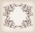 Vintage border frame engraving baroque vector with retro ornament pattern in antique style decorative design Stock Photo