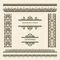 Vintage borders set of ornamental and dividers Stock Photos