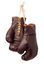 Vintage boxing gloves isolated on a white background Royalty Free Stock Photography