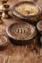Vintage brass kitchen weights on wood old wooden table Stock Images