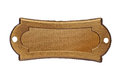 Vintage brass name plate over white clipping path space for your text Stock Photography