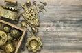 Vintage brass table ware antique kitchen utensils Royalty Free Stock Photo