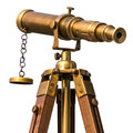 Vintage brass telescope on white background Royalty Free Stock Photo