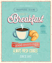 Vintage Breakfast Poster. Royalty Free Stock Photo