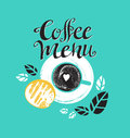Vintage Breakfast Poster with cup of coffee and toast. Vector illustration with stylish lettering. Royalty Free Stock Photo