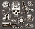 Vintage brewing monochrome elements collection