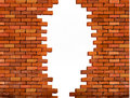 Vintage brick wall background with hole. Royalty Free Stock Photo