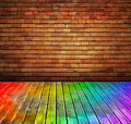 Vintage brick wall and wood floor texture interio Royalty Free Stock Photo