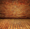 Vintage brick wall and wood floor texture interior Royalty Free Stock Photo