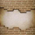 Vintage brickwall background red with canvas texture in the Stock Image