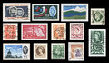Vintage british commonwealth stamps collage of various used in countries these are scanned images isolated on black Royalty Free Stock Images