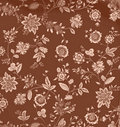 Vintage Brown Floral Background Stock Image