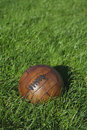 Vintage Brown Football Soccer Ball Green Grass Field Royalty Free Stock Photo