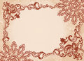 Vintage brown frame on a beige background with light foliage Stock Photos