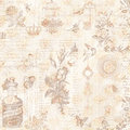 Vintage brown and pink grungy faded Shabby chic abstract floral collage background