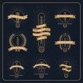 Vintage bulb creative and idea award label with ray burst