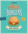 Vintage burgers poster vector illustration Royalty Free Stock Images