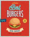 Vintage burgers poster vector illustration Royalty Free Stock Photo