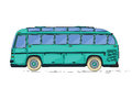 Vintage bus cartoon style city drawing over white background Royalty Free Stock Photography