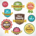 Vintage business badge labels set premium qaulitty guaranteed best chois discount isolated from background Royalty Free Stock Image
