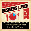 Vintage business lunch grunge old style poster background vector illustration Stock Photography