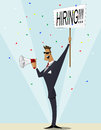 Vintage businessman searching candidate for job vacancy cartoon we are hiring recruitment illustration Royalty Free Stock Photo