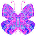 Vintage butterfly with floral abstract ornament. Colorful vector illustration