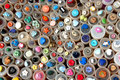 Vintage buttons at a flea market, France. Royalty Free Stock Photo