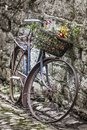 Old bycicle on a wall Royalty Free Stock Photo