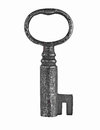 Vintage cabinet lock key rusty over white Stock Images