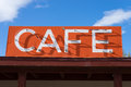 Vintage cafe sign on route sixty six in arizona abandoned building usa Stock Photo